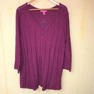 NEW Woman Within 22W/24W Wine Sweater Cardigan